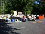 A pile of garbage and other usable items at the University on moving day