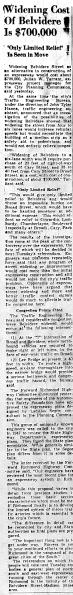 June 10 1950-Widening Cost of Belvedere is $700,000