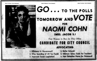 june 12 1950-Vote for Naomi Cohn-Political Ad