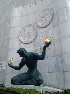 """""""The Spirit of Detroit,"""" an iconic Detroit monument along Woodward Ave."""