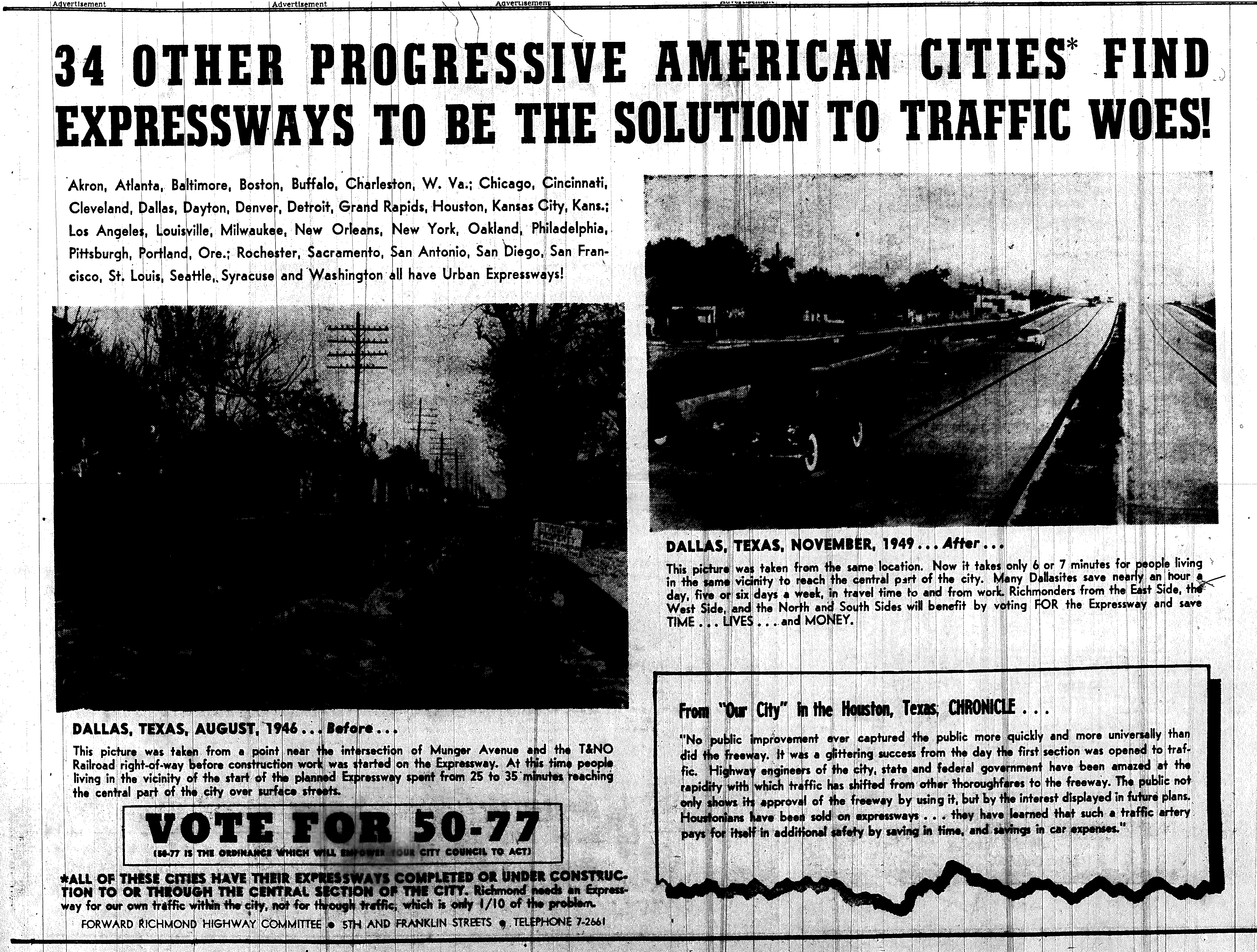 june 4 1950-First ad-Forward Richmond Highway Committee in favor-Political ad