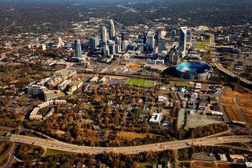 Generial aerial views on uptown / downtown / city center Charlotte skyline