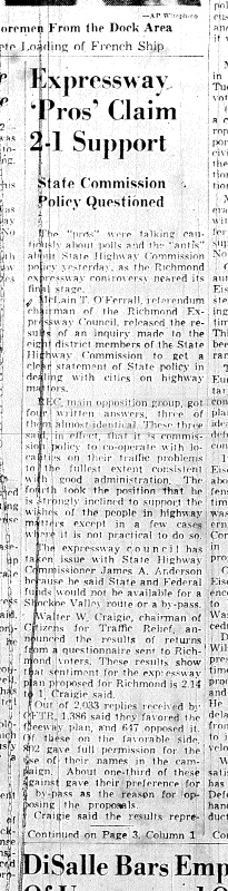 Nov. 3, 1951, front page, Expressway pros claim 2-1 support