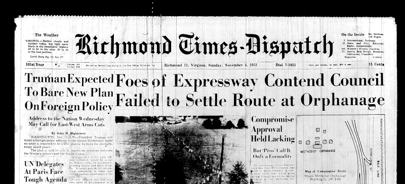 Nov. 4 1951, Front page, Foes of Expressway