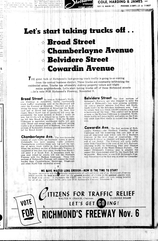 Nov. 5, 1951, AD in favor, Traffic Relief, p. 12