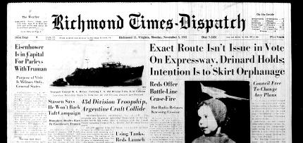 Nov. 5, 1951 Front page headline
